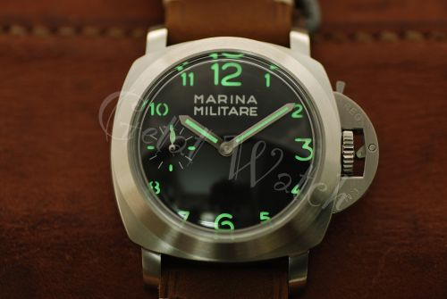 44mm Mini Fiddy Marina Militare Black Dial with Superlume Arabic Numbers Watch