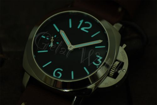 44mm Mini Fiddy Sterile Black Dial with Aqua Blue Glow Superlume Watch