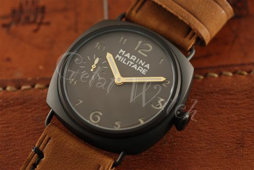 1:1 45mm Radiomir Style Marina Militare Brown Dial with Superlume Arabic Numbers Watch