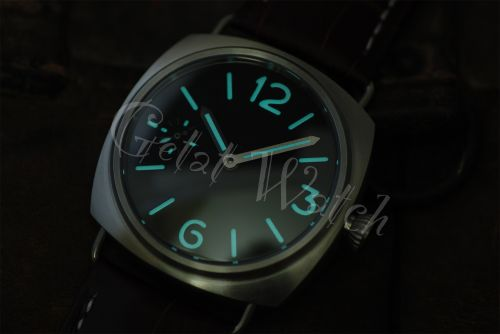 1:1 45mm Radiomir Style Sterile Black Dial with Aqua Blue Glow Superlume Watch