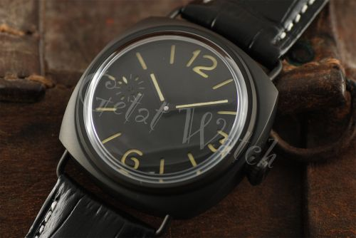 1:1 45mm Radiomir Style Sterile Black Dial with Yellow Superlume Watch