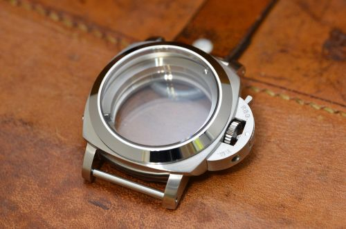 1:1 44mm 1950 Style Brushed Steel Case Set with Polished Bezel