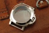1:1 44mm Luminor Style Brushed Steel Case Set with Polished Bezel