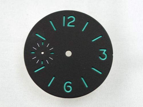 35mm Custom Made Black Sandwich Dial with Blue Luminous Numberals