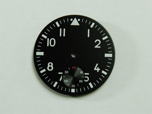 37.6mm Custom Made Black Pilot 6498 Dial with White Luminous Numberals