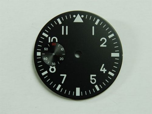 37.6mm Custom Made Black Pilot Dial with White Luminous Numberals