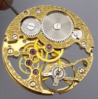 17 Jewels Hand-winding Asian Gold Skeleton 6497 Movement with Decoration